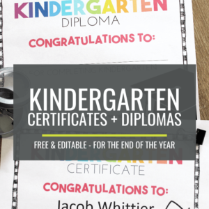 Free End of Year Certificates for Kindergarten