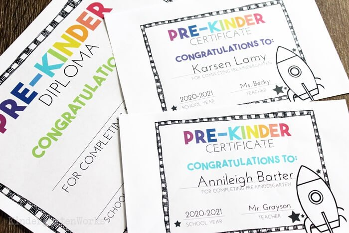 Full Size and Half Sheet Kindergarten and Pre-K Certificates and Dimplomas for the End of the School Year