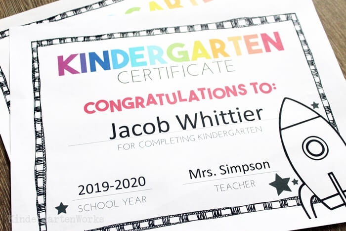 Kindergarten Shoot for The Stars Free End of the Year Certificate