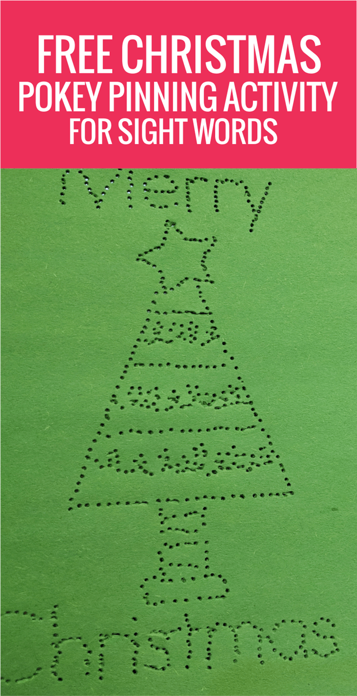 Free Christmas Pokey Pinning: Kindergarten Sight Words Activity