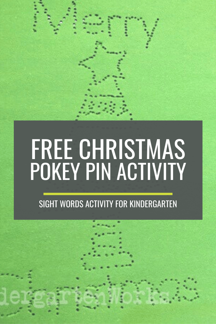 Free Christmas Pokey Pinning: Kindergarten Sight Words Activity