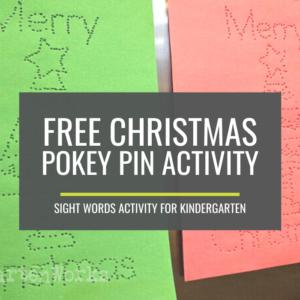 Free Christmas Pokey Pinning Activity with Kindergarten Sight Words