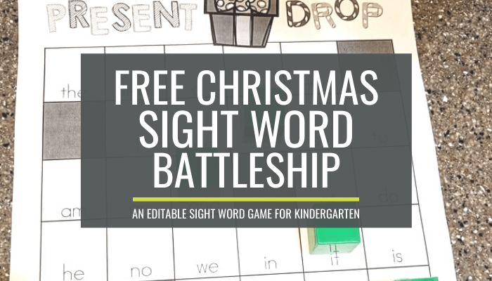 Christmas Sight Word Battleship Game for Kindergarten