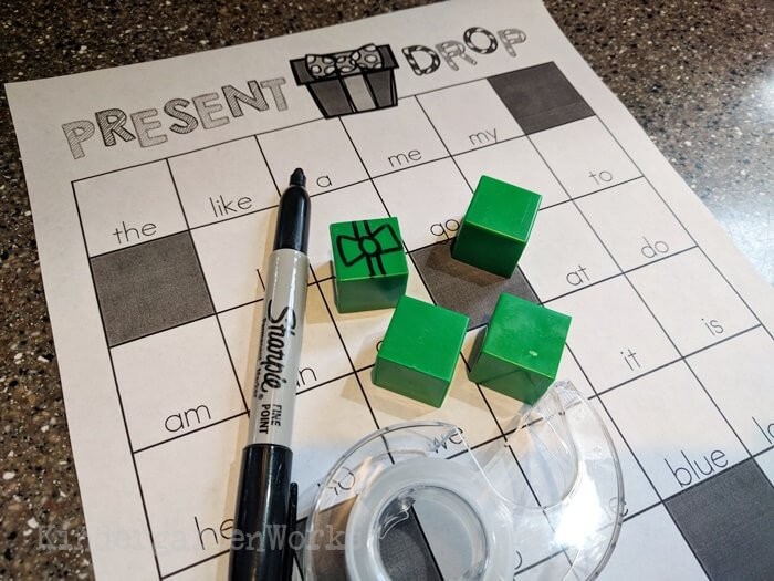 Christmas Sight Word Battleship for Kindergarten - make linking cubes into pretend presents