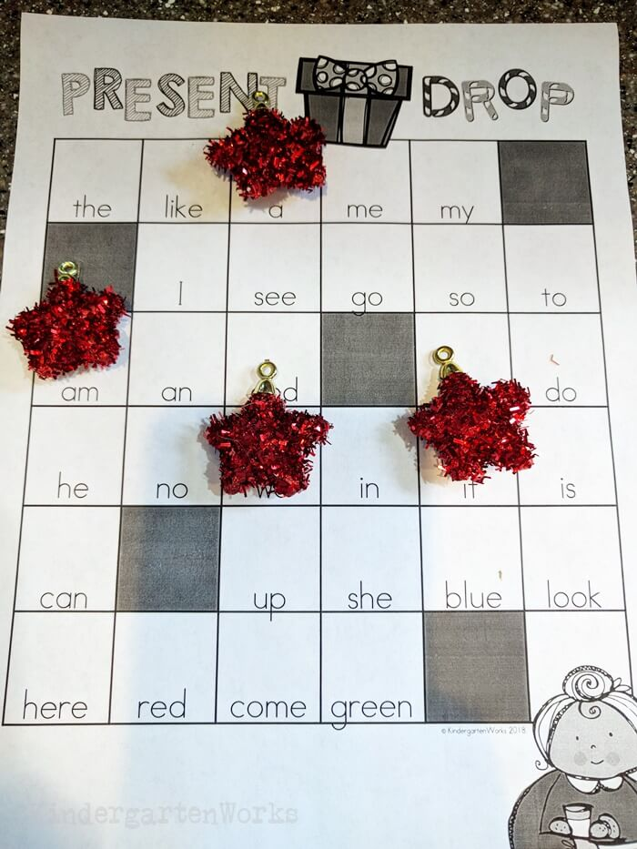 Christmas Sight Word Battleship for Kindergarten - use stars