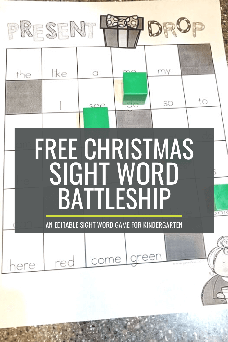 Christmas Sight Word Battleship for Kindergarten