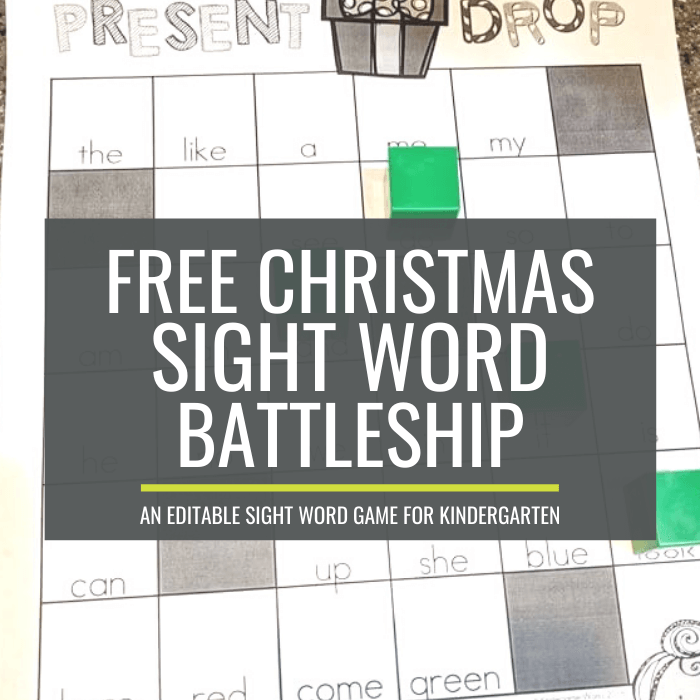 Free Christmas Sight Word Battleship for K