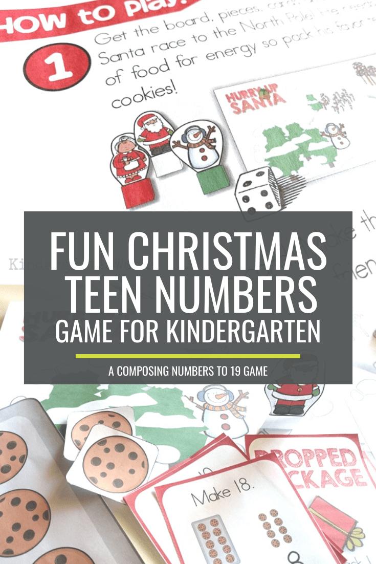 Fun Christmas Composing Teen Numbers Game for Kindergarten