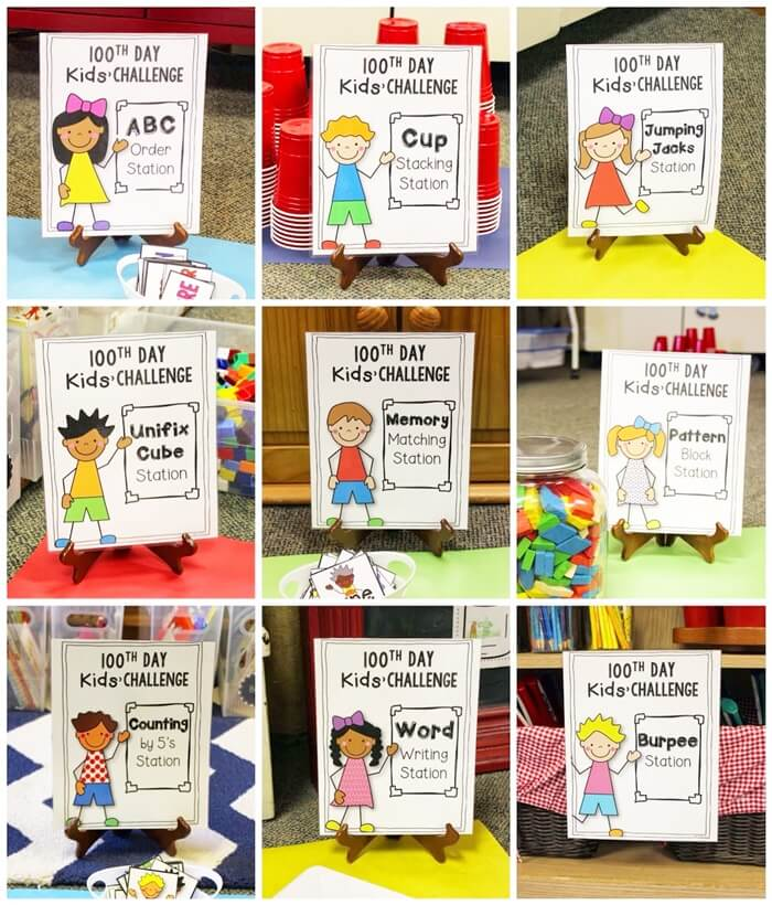 100th Day of School Challenges Free Printable Cards Station Signs