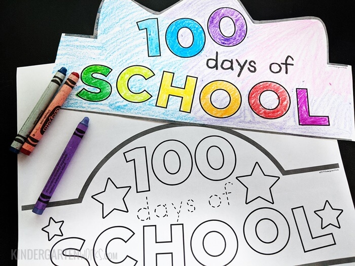 photograph relating to 100 Days Printable referred to as No cost 100th Working day of Faculty Headband Crowns KindergartenWorks