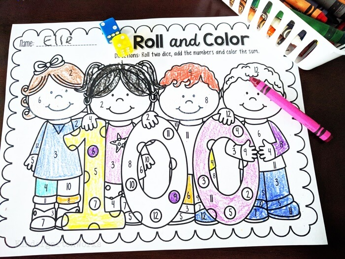 100th Day of School Roll and Color 2 Dice Addition Freebie