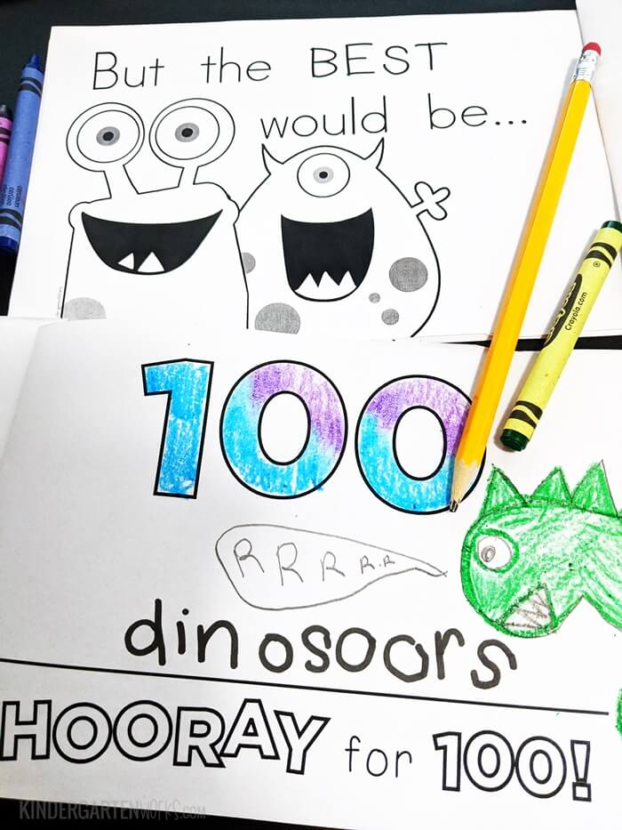 100th Day of School Writing Prompt Booklet for Kindergarten