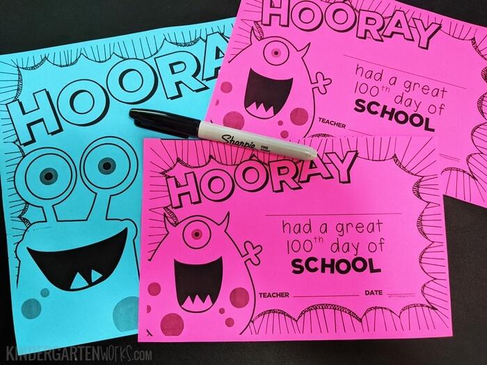 100th Day of School and Kindergarten Certificates