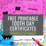 100th day certificates for kindergarten