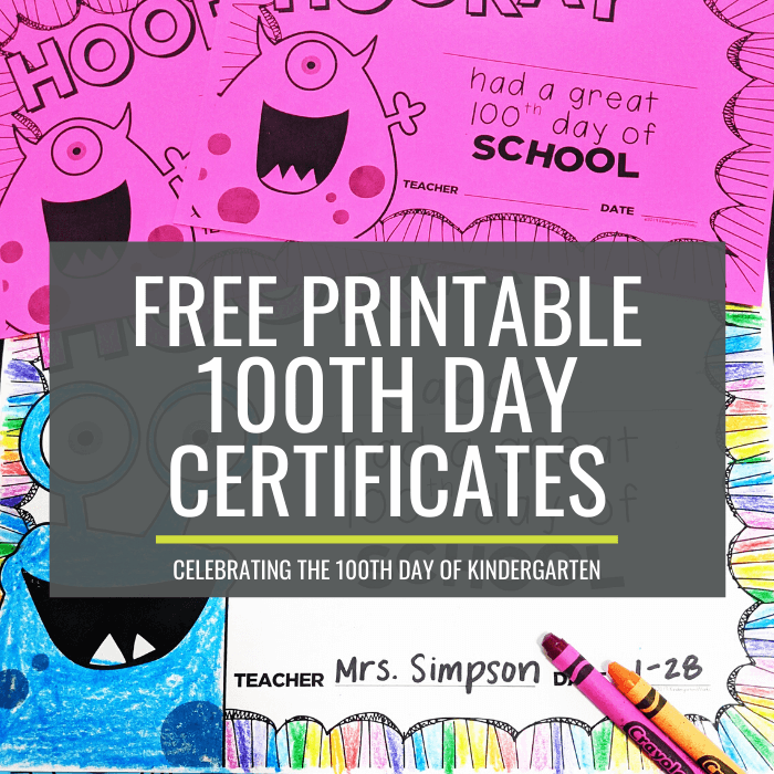 100th day certificates for kindergarten