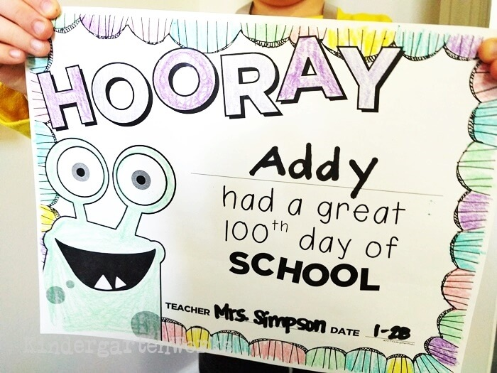 Coloring Certificate for the 100th Day of School