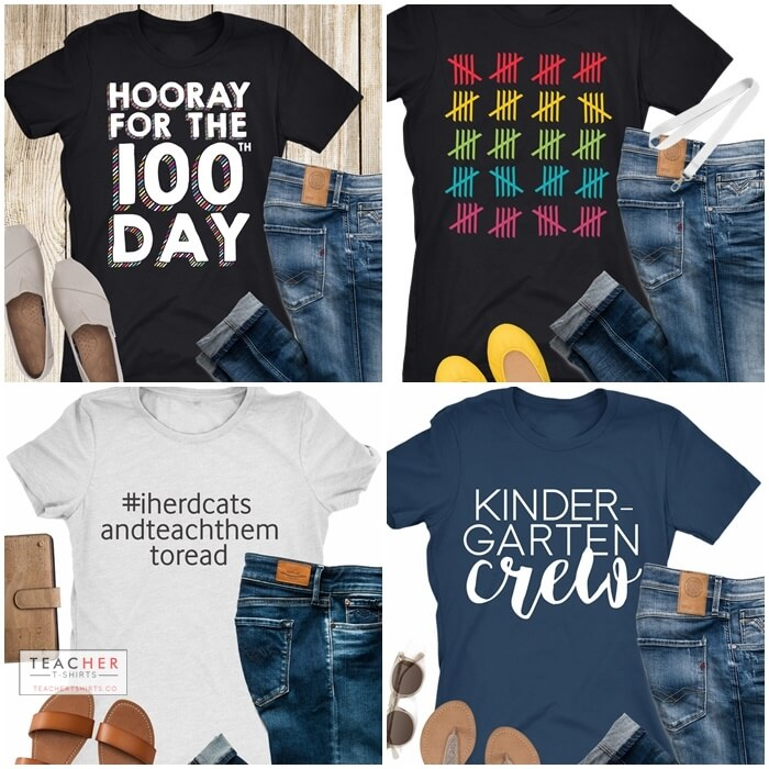 Cute Teacher T-shirts for 100th day of school and kindergarten
