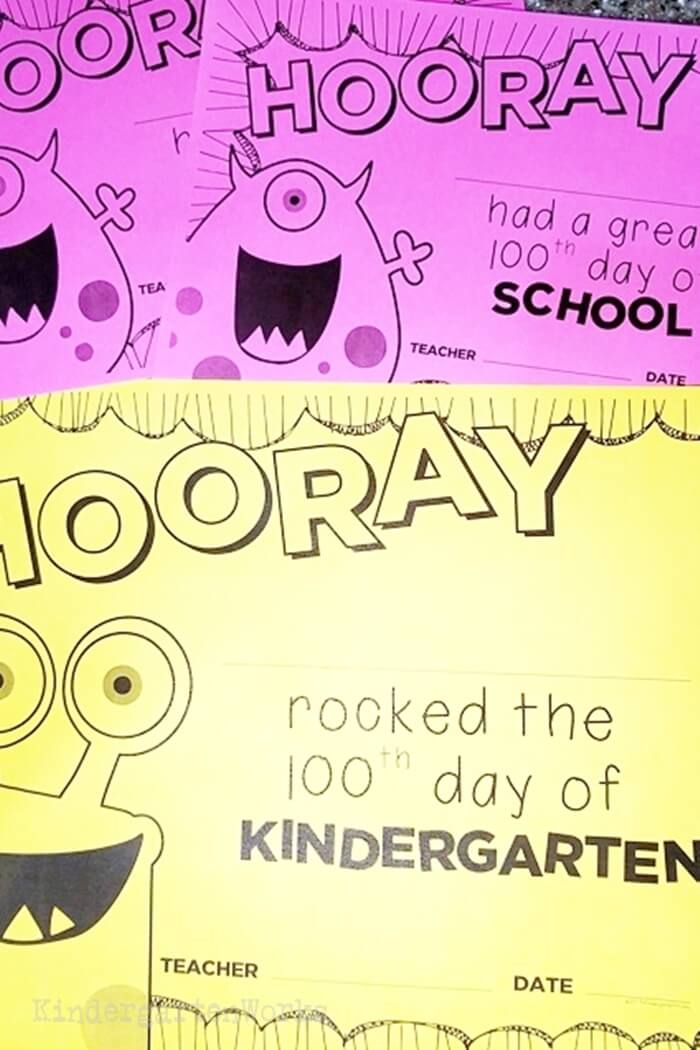 Free Printable 100th Day of School Certificates for Kindergarten