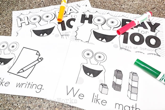 Free Printable Emergent Reader Book for 100th Day of School