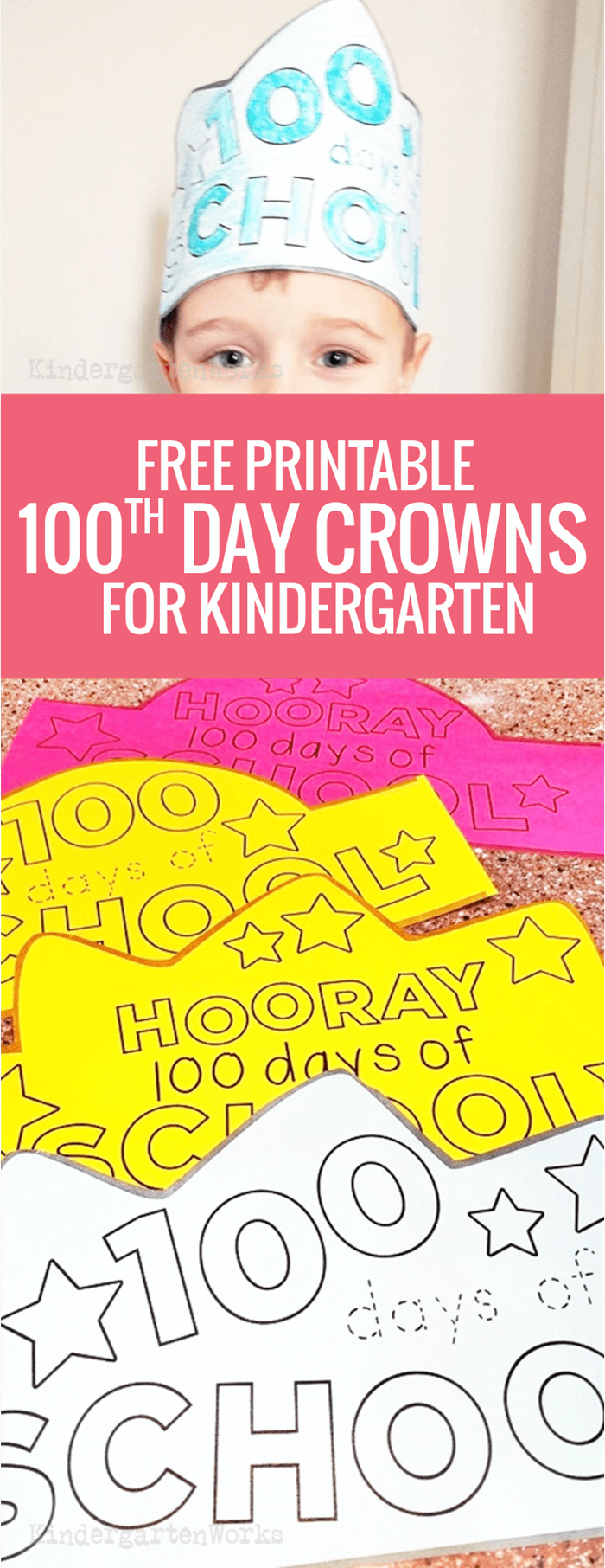 free printable 100th day of school crowns headbands for kindergarten