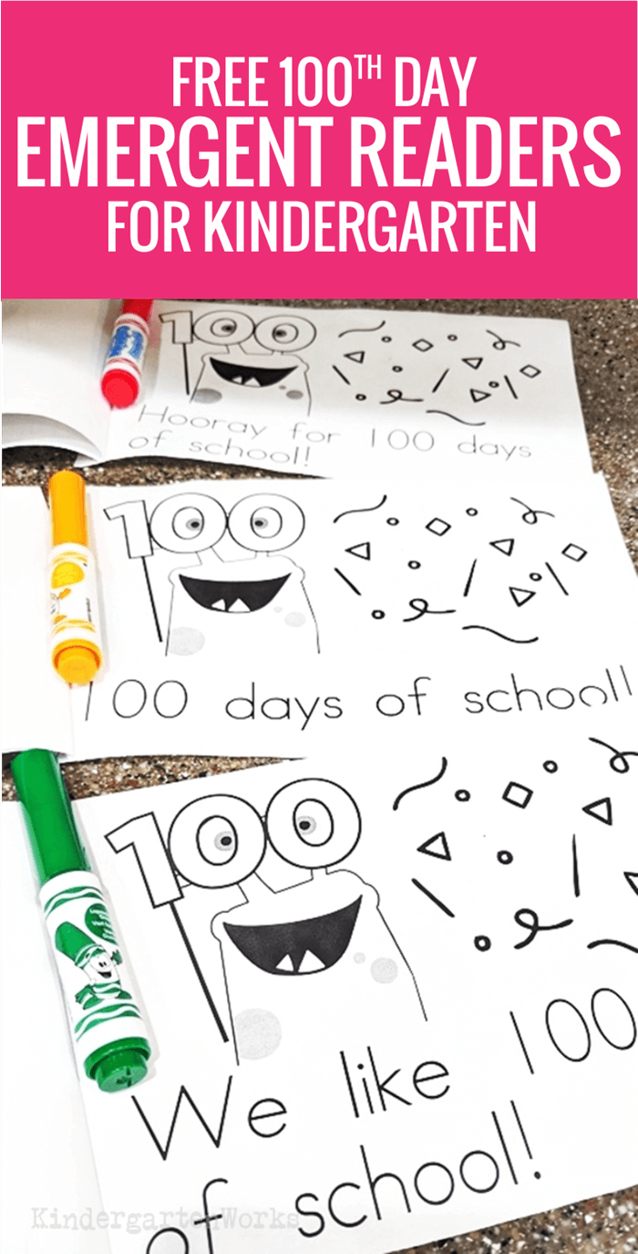 free printable 100th day of school emergent readers for kindergarten