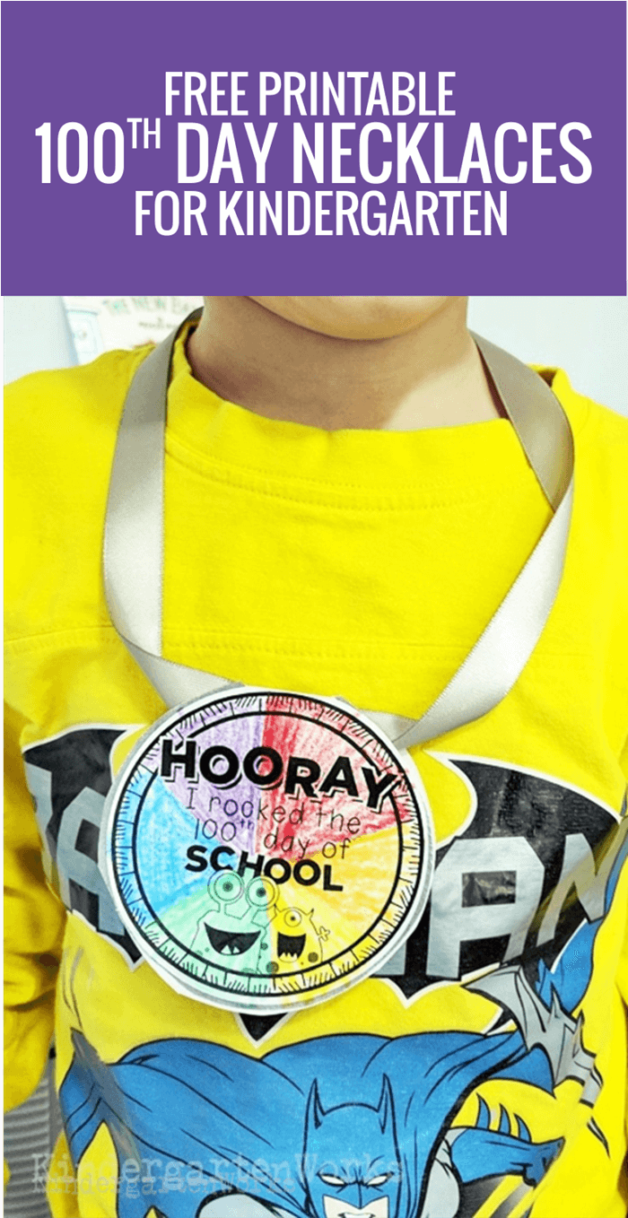 Cute 100th Day of School Printable Necklaces