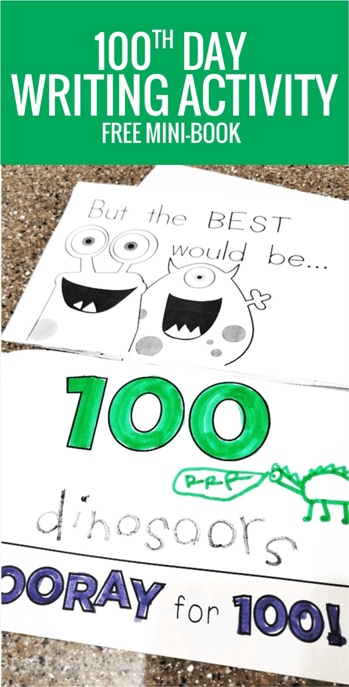 free printable 100th day of school writing booklet for kindergarten