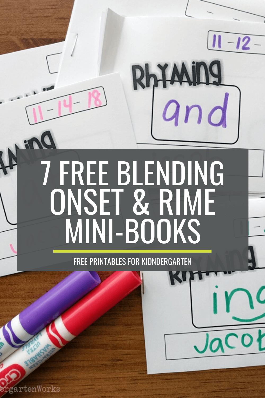 7 Free Blending Onset and Rime Mini-Books for Kindergarten