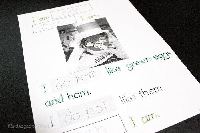 Green Eggs and Ham response sheet