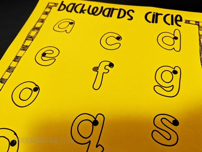 Letters that have a backward circle for kindergarten handwriting