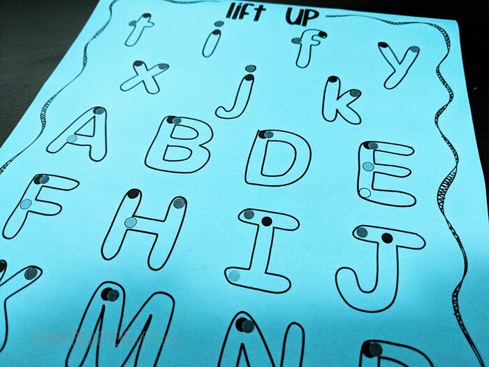 Letters that lift up and have more than one stroke for kindergarten handwriting