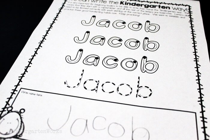 Name handwriting worksheet for kindergarten for tracing