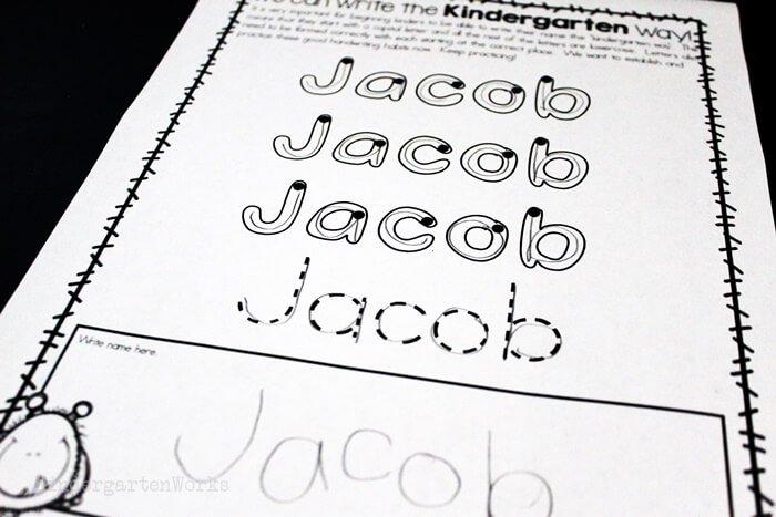Name handwriting worksheet for kindergarten for tracing