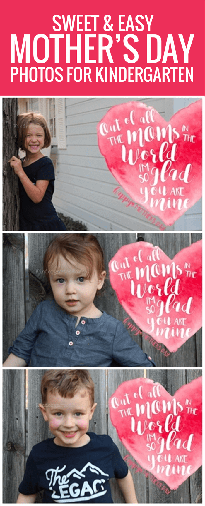 Sweet and Easy (Free) Mother's Day Photo Overlays for Kindergarten