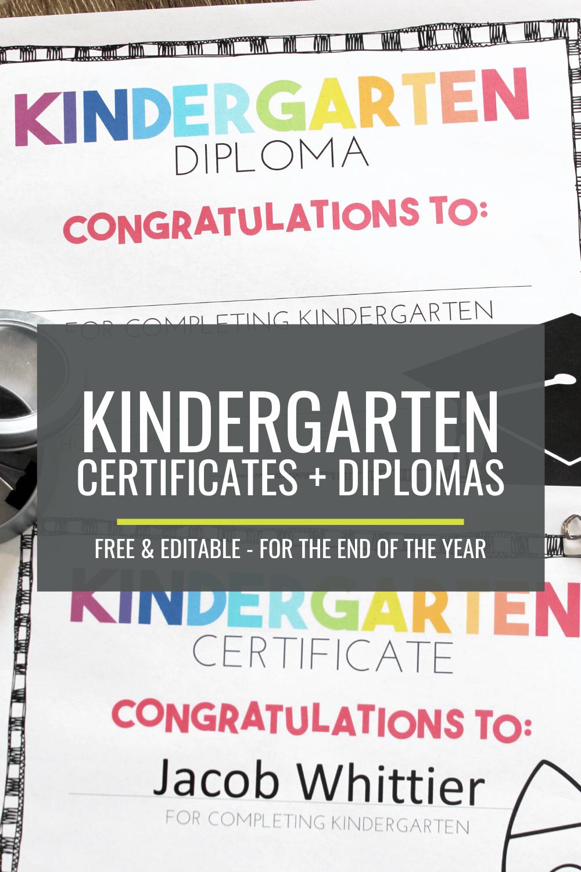 Free, Editable Kindergarten Certificates and Graduation Diplomas