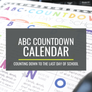 ABC Countdown Calendar for Kindergarten - Countdown to the last day of school
