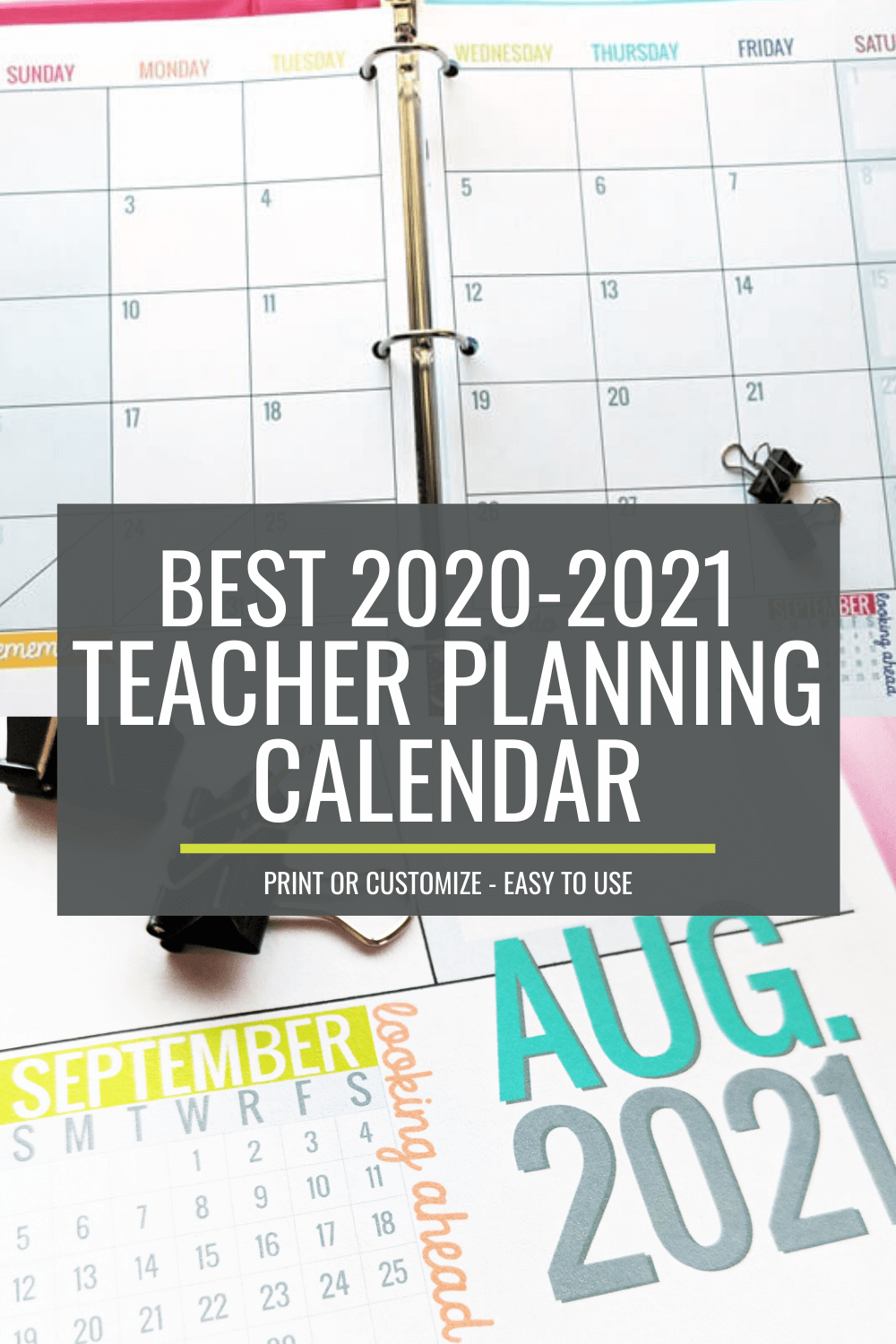 2020-2021 Teacher Planning Calendar Template
