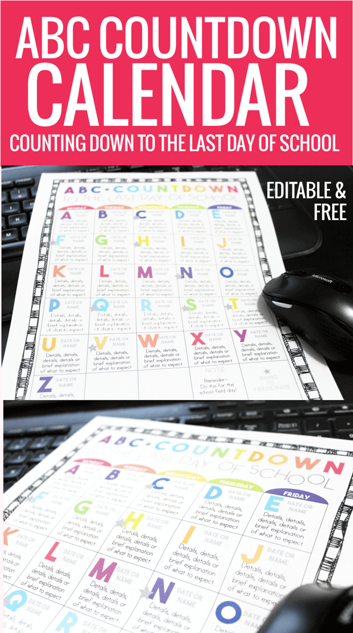 Free Editable ABC Countdown Calendar for Kindergarten, First grade and Second Grade