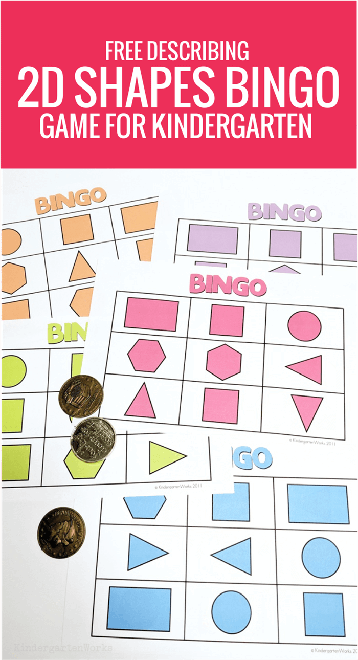 Free Describing 2D Shapes Bingo Game for Kindergarten