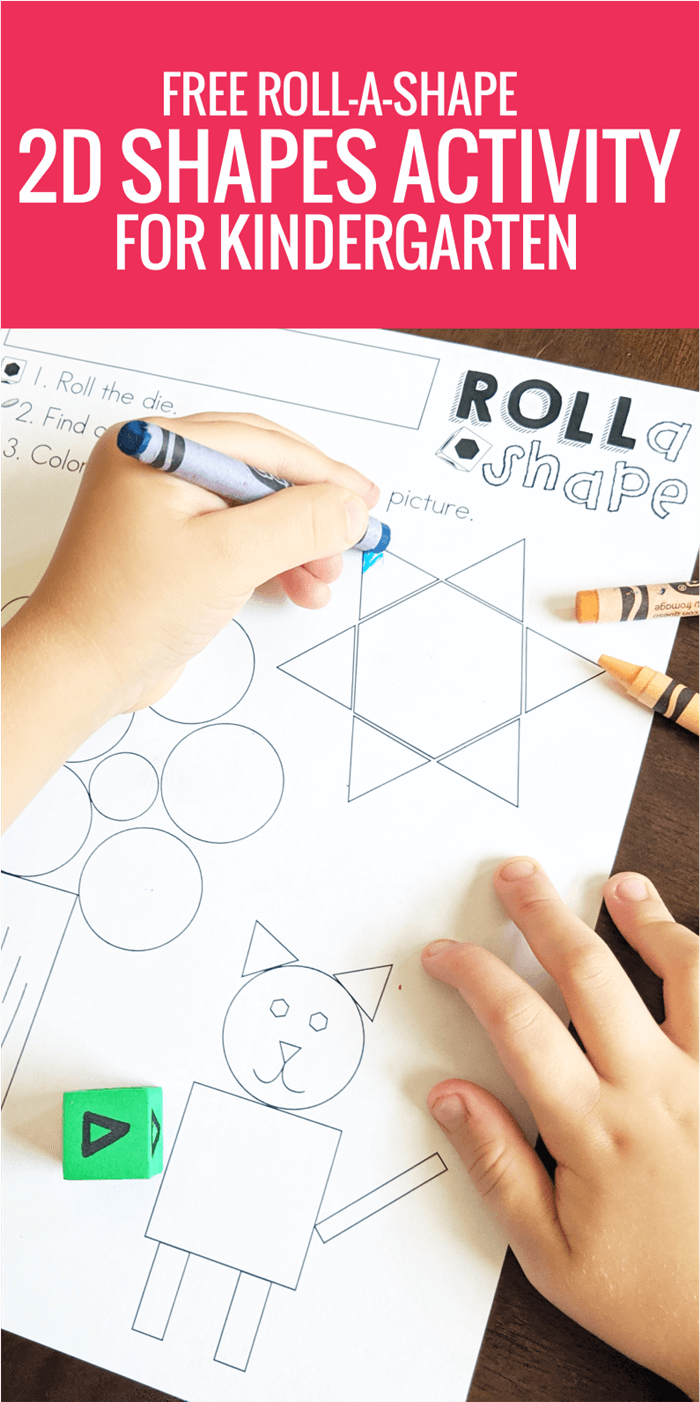 Free Roll-A-2D-Shape Activity for Kindergarten
