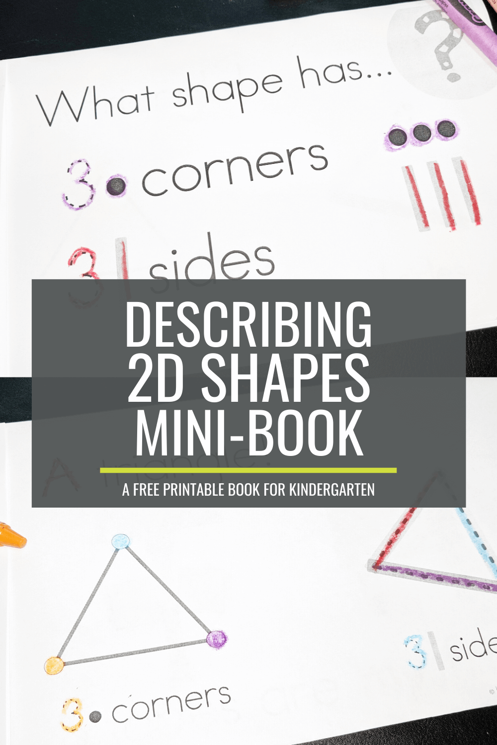 Free Describing 2D Shapes Mini-Booklet for Kindergarten