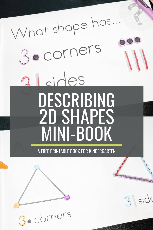 Free Describing 2D Shapes Mini-Booklet for Kindergarten