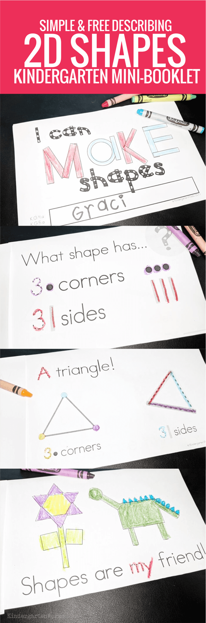 Introduce how to describe 2D shapes by simply using dots and lines. Here is a free printable booklet to describe the attributes of 2D shapes for kindergarten.