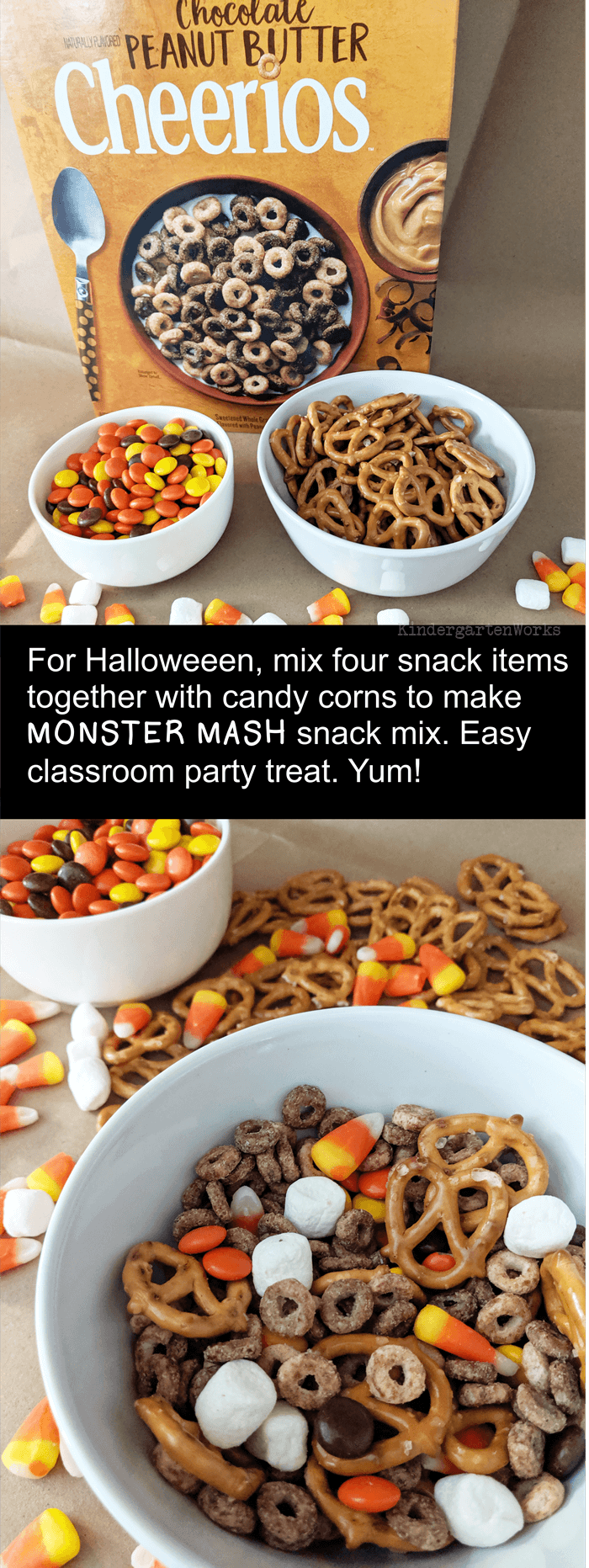 Think of a basic snack mix or trail mix recipe and add in a Halloween flavor like candy corns. Just remember to balance the sweet and salty factor so it's tasty! Pick 5 items from this list to make your monster munch snack: Cereal, Popcorn, M&M's Reeses Pieces or Chocolate chips, Pretzels, Candy Corn, Mini-marshmallows, Raisins - Students will count or scoop (based on your instructions) the items into a ziploc bag and shake it up before eating. Editable recipe card included to make it a ...