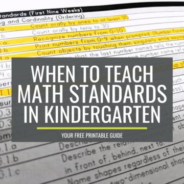 When to teach math standards in kindergarten