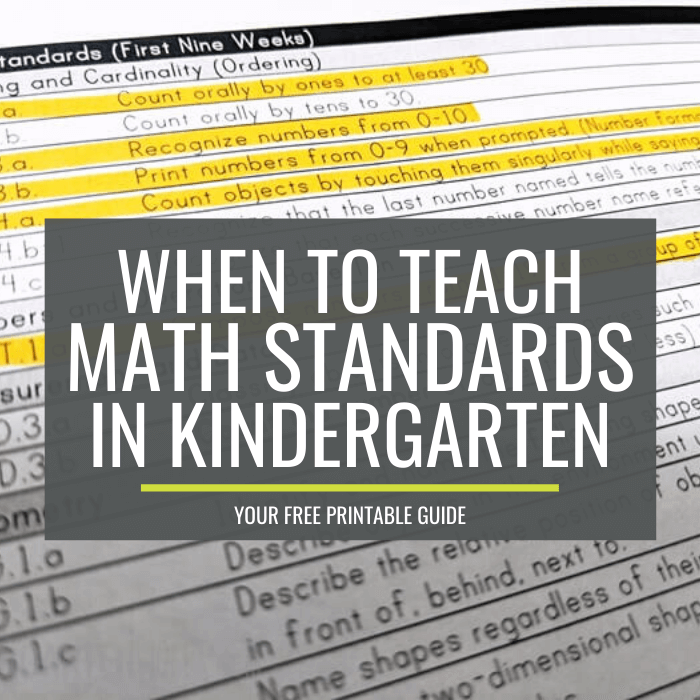 When to teach math standards in kindergarten