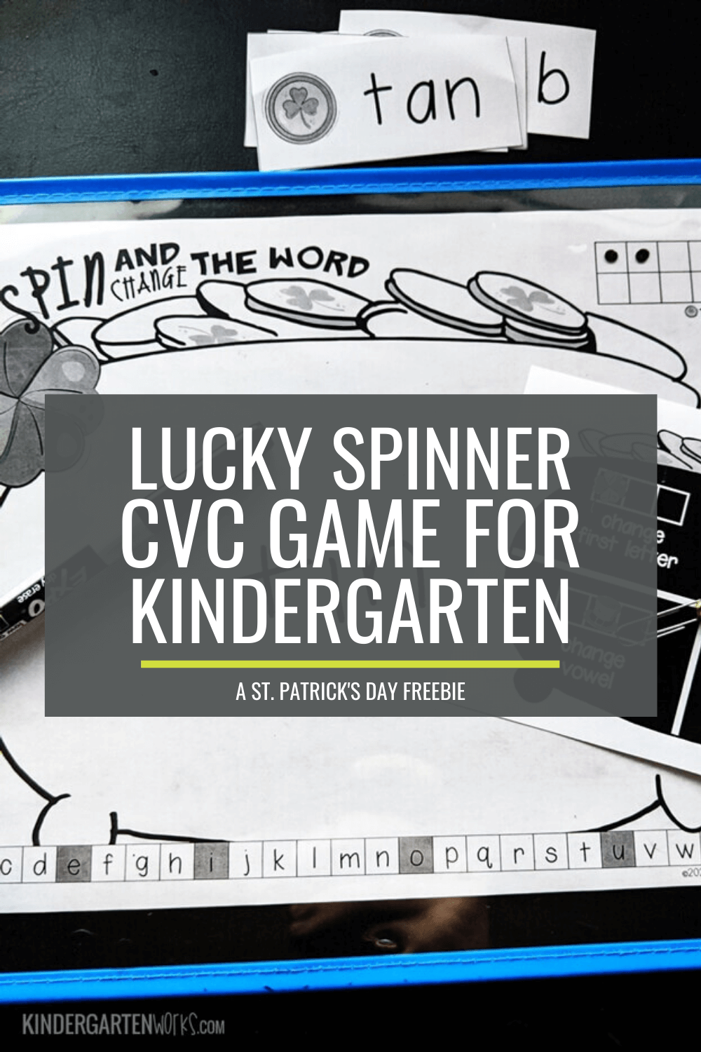 Lucky Spinner CVC Game for Kindergarten - A St. Patrick\'s Day Freebie