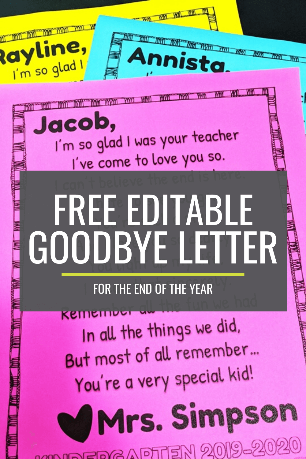 Free Editable Goodbye Letter for the End of the Year
