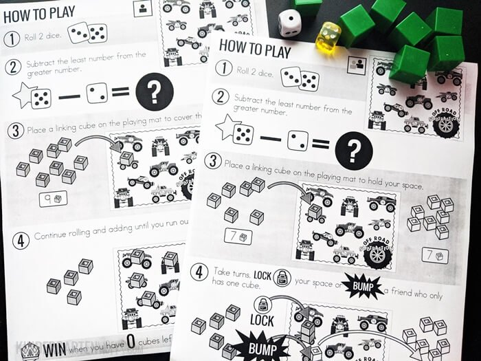 Directions for Monster Truck Rally Subtraction Within 5 Game for Kindergarten