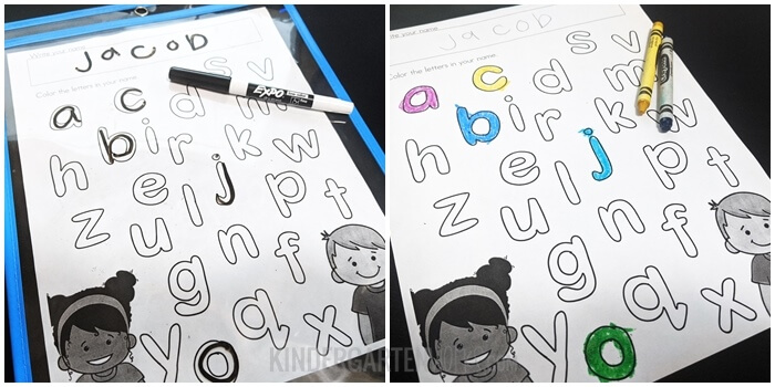 Find the letters in your name worksheets